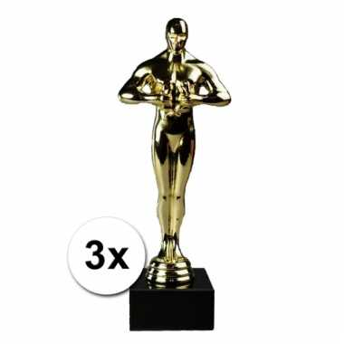 Feestartikel goud award beeldjes 22 cm 3 st