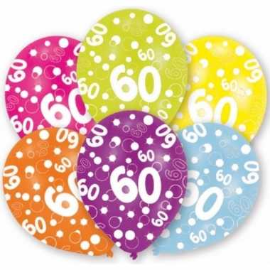 Feestartikelen ballonnen 60 jaar 6 st