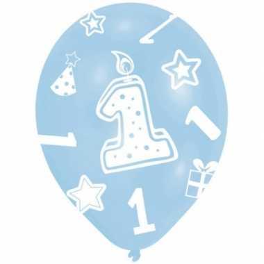 Feestartikelen ballonnen blauw 1 jaar 6 stuks