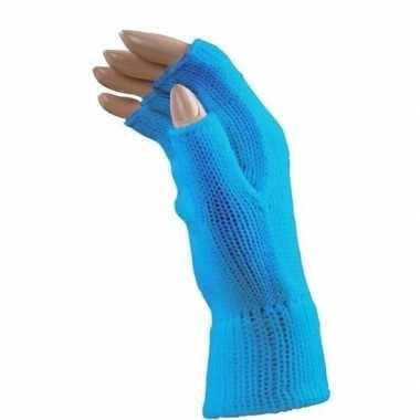 Feestartikelen gebreide vingerloze polsjes/handschoenen aqua blauw vo