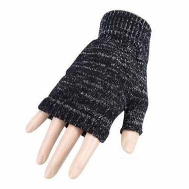 Feestartikelen gebreide vingerloze polsjes/handschoenen grijs voor vo