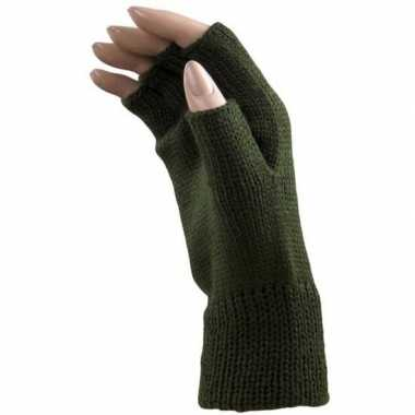 Feestartikelen gebreide vingerloze polsjes handschoenen groen voor volwassenen