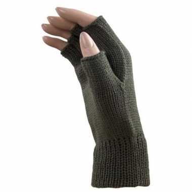Feestartikelen gebreide vingerloze polsjes handschoenen khaki groen voor volwassenen