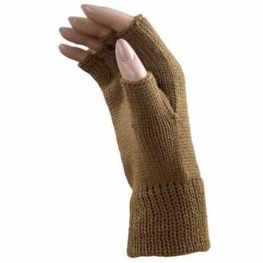 Feestartikelen gebreide vingerloze polsjes/handschoenen licht bruin v