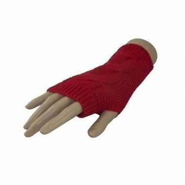 Feestartikelen gebreide vingerloze polsjes handschoenen met kabelpatroon rood voor volwassenen