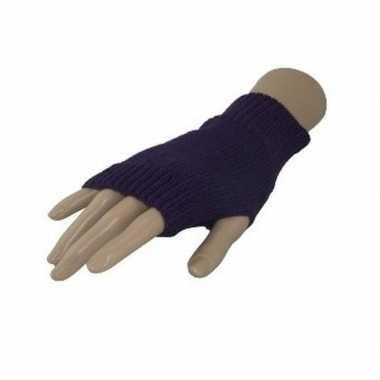 Feestartikelen gebreide vingerloze polsjes handschoenen paars voor volwassenen