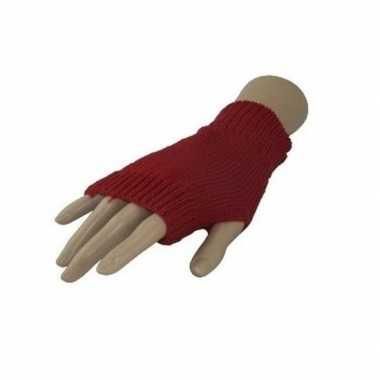 Feestartikelen gebreide vingerloze polsjes handschoenen rood voor volwassenen