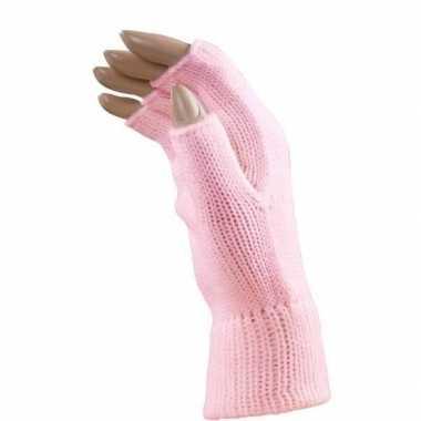 Feestartikelen gebreide vingerloze polsjes/handschoenen roze voor vol