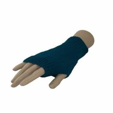 Feestartikelen gebreide vingerloze polsjes handschoenen turquoise voor volwassenen