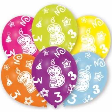 Feestartikelen gekleurde ballonnen 3 jaar 6 stuks