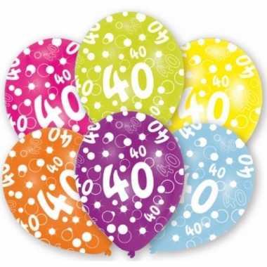 Feestartikelen gekleurde ballonnen 40 jaar 6 st