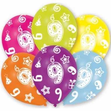 Feestartikelen gekleurde ballonnen 9 jaar 6 stuks