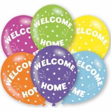 Feestartikelen gekleurde welkom thuis ballonnen 6 stuks