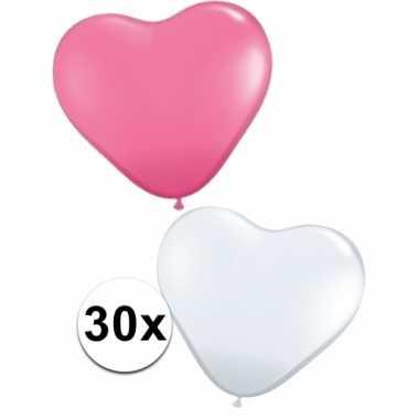 Feestartikelen hartjes ballonnen roze/wit 30 st