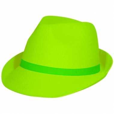 Feestartikelen neon groene tribly hoed