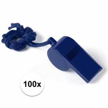 Feestartikelen plastic blauw fluitje 100 stuks