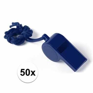 Feestartikelen plastic blauw fluitje 50 stuks