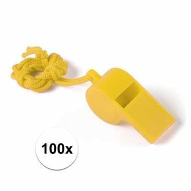 Feestartikelen plastic geel fluitje 100 stuks