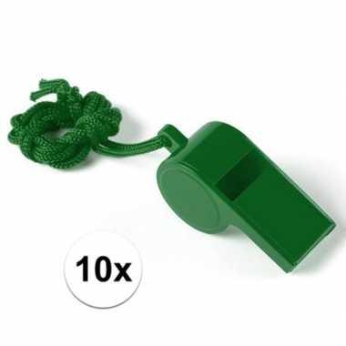 Feestartikelen plastic groen fluitje 10 stuks