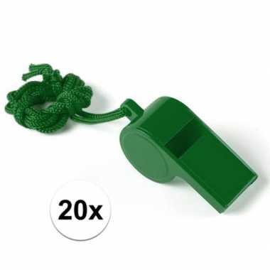 Feestartikelen plastic groen fluitje 20 stuks