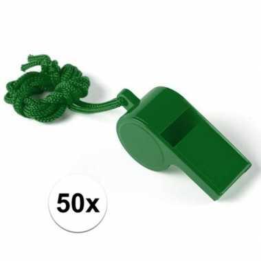 Feestartikelen plastic groen fluitje 50 stuks