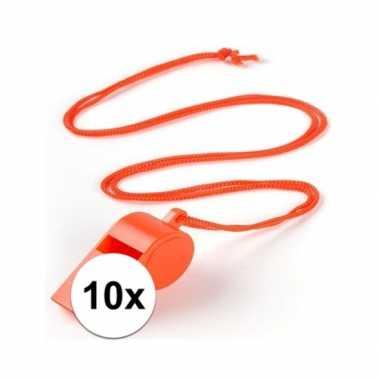 Feestartikelen plastic oranje fluitje 10 stuks
