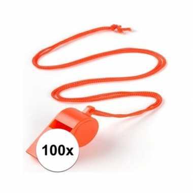 Feestartikelen plastic oranje fluitje 100 stuks