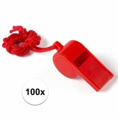 Feestartikelen plastic rood fluitje 100 stuks