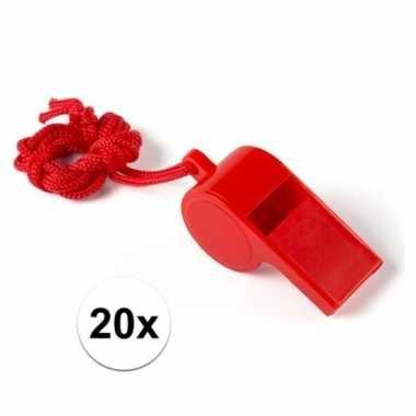 Feestartikelen plastic rood fluitje 20 stuks
