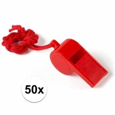 Feestartikelen plastic rood fluitje 50 stuks