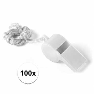 Feestartikelen plastic wit fluitje 100 stuks