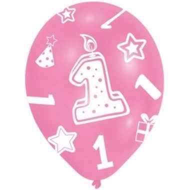 Feestartikelen roze ballonnen 1 jaar 6 stuks