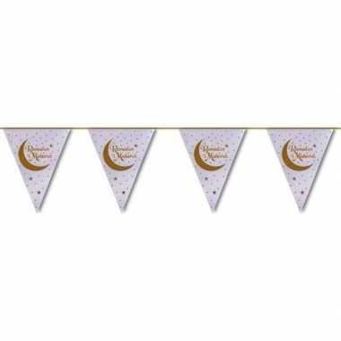 Feestartikelen wit/gouden ramadan vlaggenlijn eid mubarak 6 meter