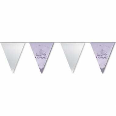 Feestartikelen zilveren ramadan vlaggenlijn eid mubarak 6 meter