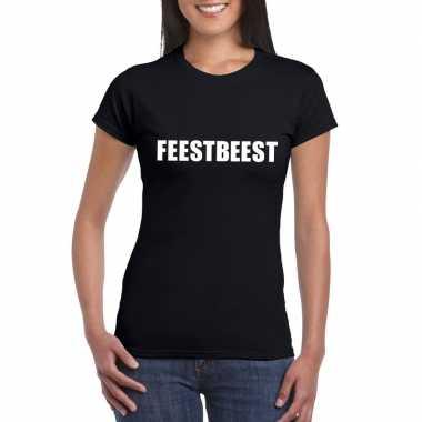 Feestbeest tekst t-shirt zwart dames