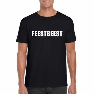 Feestbeest tekst t-shirt zwart heren