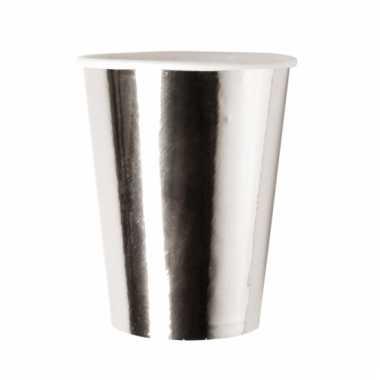 Feestbekers metallic zilver 8x
