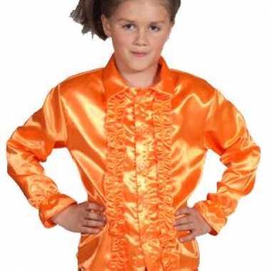 Feestblouse oranje voor kinderen