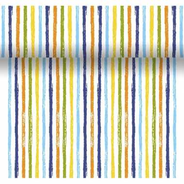 Feestelijke tafelloper 3-in-1 met gekleurde strepen 4,80 m