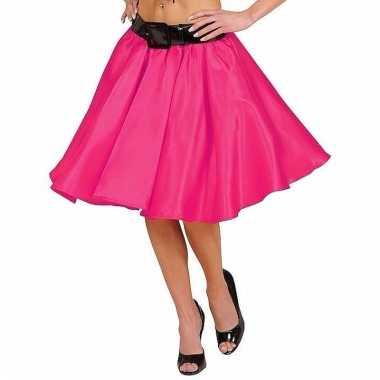 Feestkleding fuchsia roze swing rok voor dames
