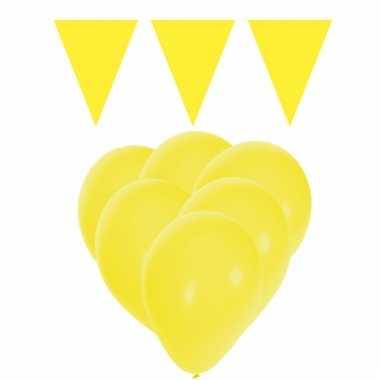 Feestpakket geel 15 ballonnen met 2 vlaggenlijnen