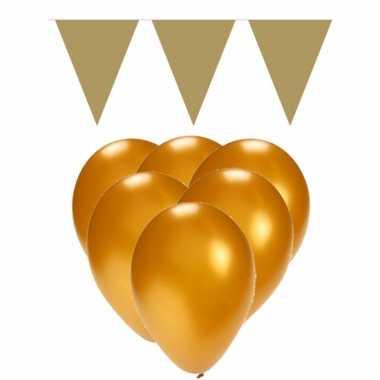 Feestpakket goud 15 ballonnen met 2 vlaggenlijnen