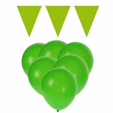 Feestpakket groen 15 ballonnen met 2 vlaggenlijnen