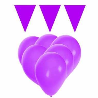 Feestpakket paars 15 ballonnen met 2 vlaggenlijnen