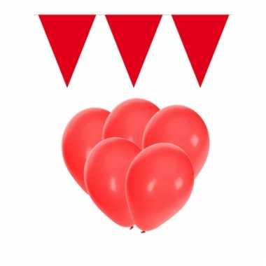 Feestpakket rood 15 ballonnen met 2 vlaggenlijnen