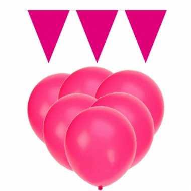 Feestpakket roze 15 ballonnen met 2 vlaggenlijnen