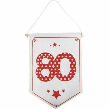 Feestversiering 80 jaar geworden vaantje/vlaggetje