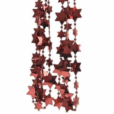 Feestversiering kralen slinger donkerrood sterretjes 270 cm kunststof
