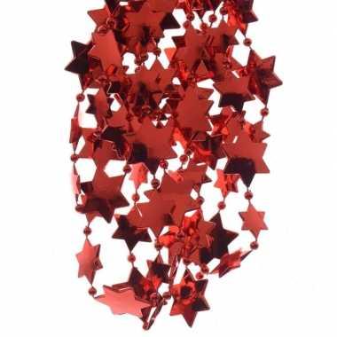 Feestversiering kralen slinger kerst rood sterretjes 270 cm kunststof