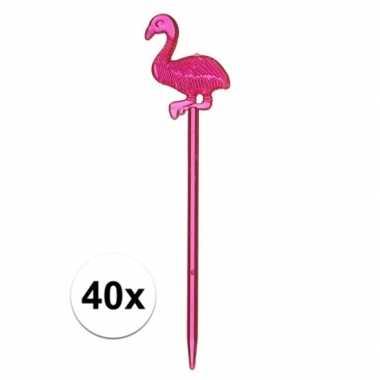 Flamingo kaasprikkertjes plastic 40 stuks 8 cm